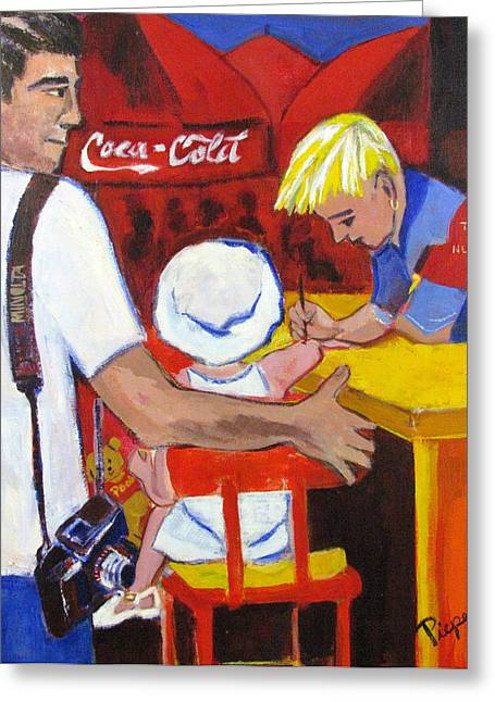 Greeting Card featuring the painting The Juandiced Eye Of Father And American Fare by Betty Pieper