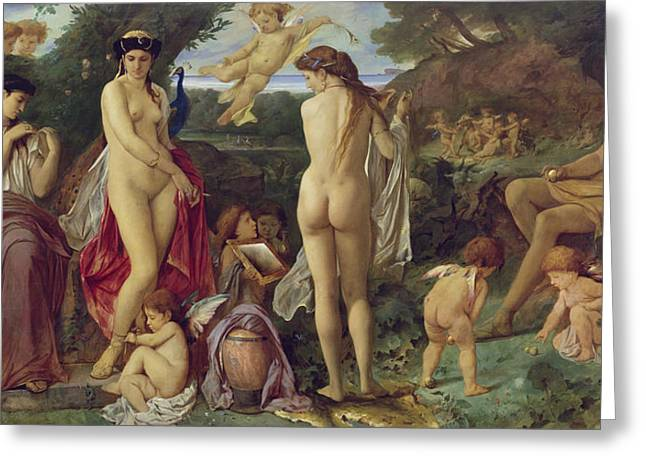 The Judgement Of Paris, 1870 Oil On Canvas Greeting Card by Anselm Feuerbach