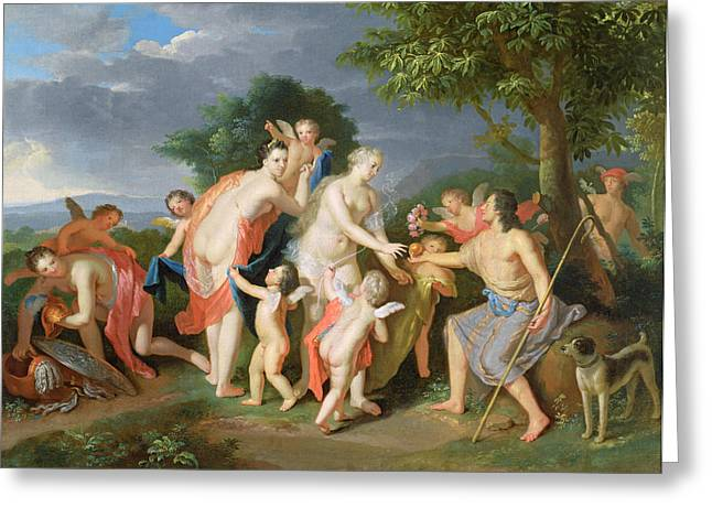 The Judgement Of Paris Greeting Card by Gerard Hoet