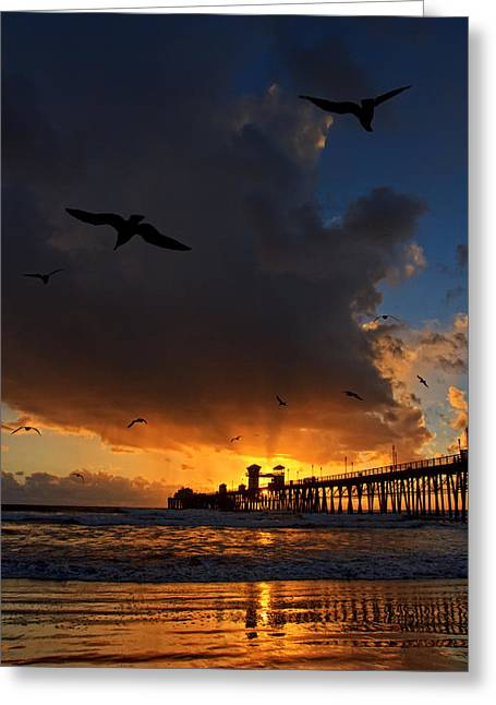 The Jutting Pier At Sundown  Greeting Card by Donna Pagakis