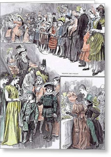 The Juvenile Fancy Dress Ball In 1891 Watching The Cotillon Greeting Card by English School