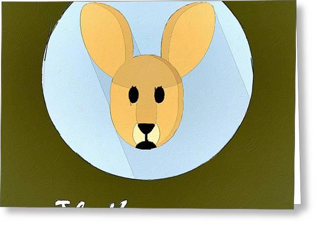The Kangaroo Cute Portrait Greeting Card by Florian Rodarte