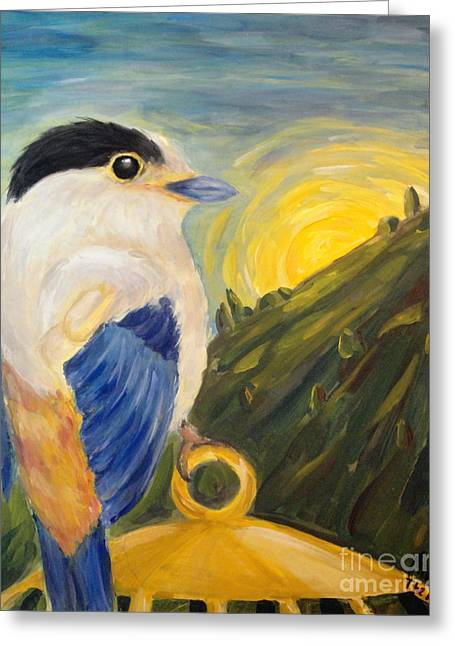 Greeting Card featuring the painting The Key by Maria Langgle