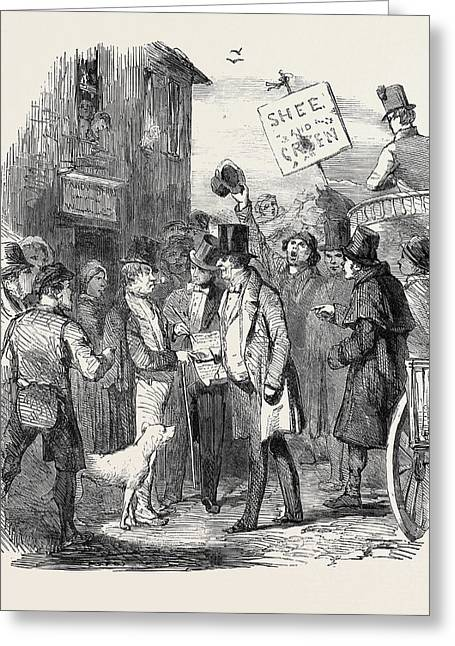 The Kilkenny Election, Canvassing For Votes Greeting Card by English School
