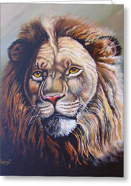 Greeting Card featuring the painting The King by Anthony Mwangi