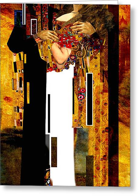 The Kiss     Christ And Maria Magdalena Greeting Card by Karine Percheron-Daniels