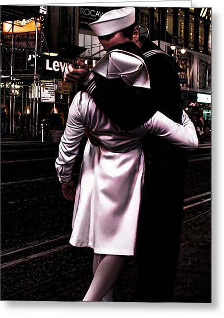 The Kiss In Times Square Greeting Card by Evie Carrier