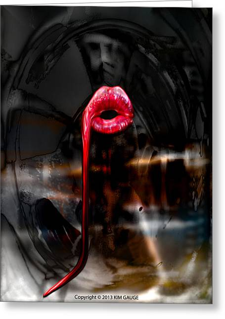 Greeting Card featuring the digital art The Kiss by Kim Gauge