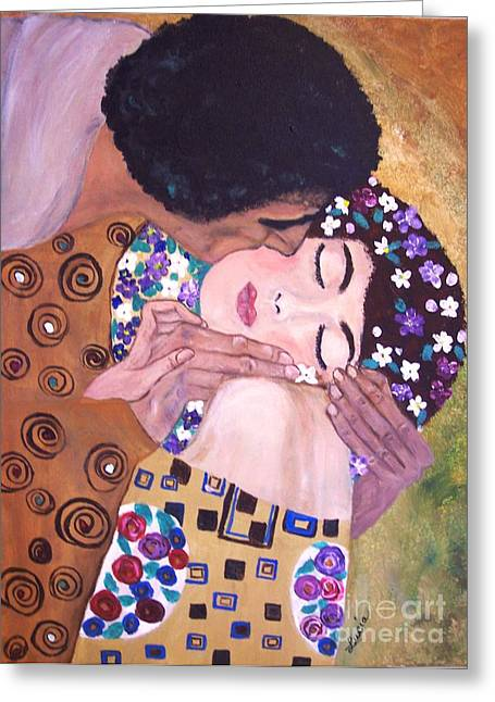 Greeting Card featuring the painting The Kiss   by Lucia Grilletto