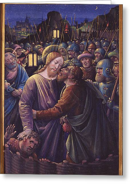 The Kiss Of Judas, End Of 15th Century Vellum Greeting Card by Jean Bourdichon