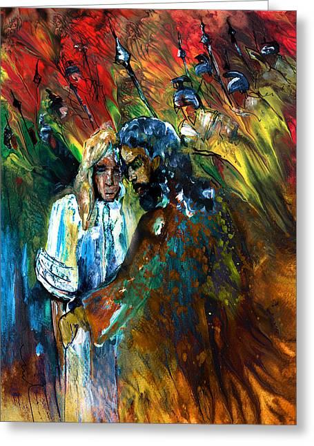 The Kiss Of Judas Greeting Card by Miki De Goodaboom