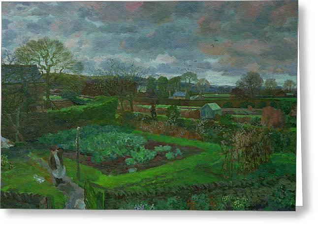 The Kitchen Garden In Autumn Greeting Card
