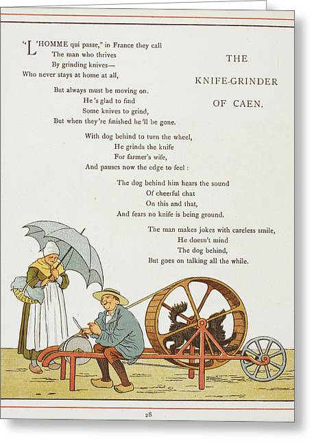 The Knife-grinder Of Caen Greeting Card by British Library