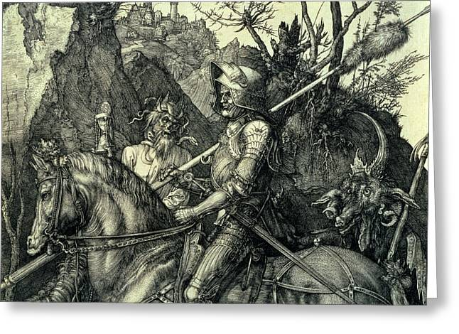 The Knight, Death And The Devil Greeting Card by Albrecht Durer or Duerer
