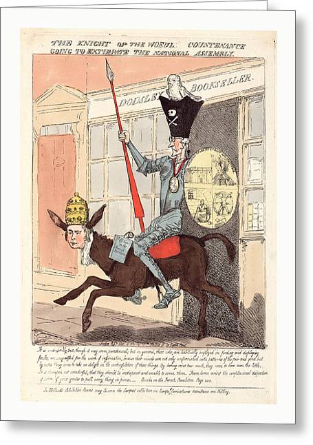 The Knight Of The Woeful Countenance Going To Extirpate Greeting Card by English School