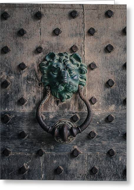 The Knocker At Leeds Castle Greeting Card by Marie  Cardona