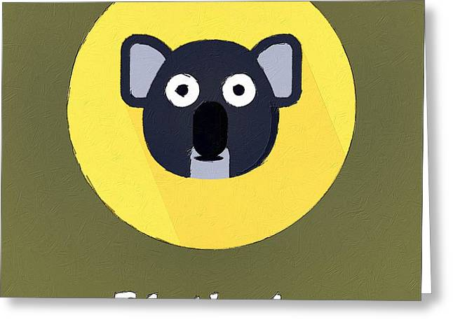The Koala Cute Portrait Greeting Card by Florian Rodarte