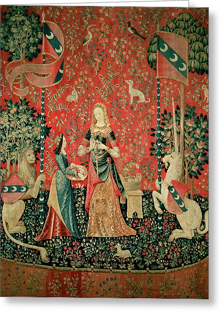 The Lady And The Unicorn Smell Tapestry Greeting Card