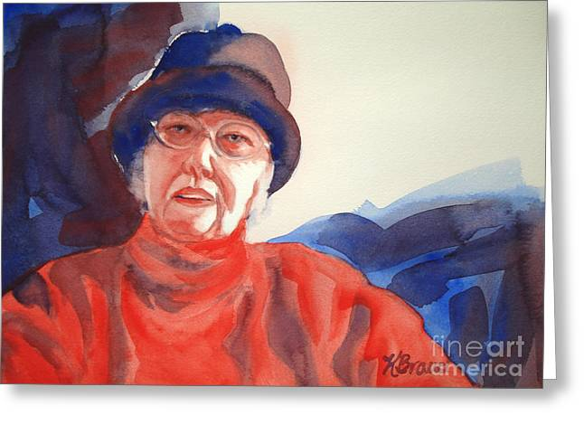 The Lady In Red Greeting Card by Kathy Braud