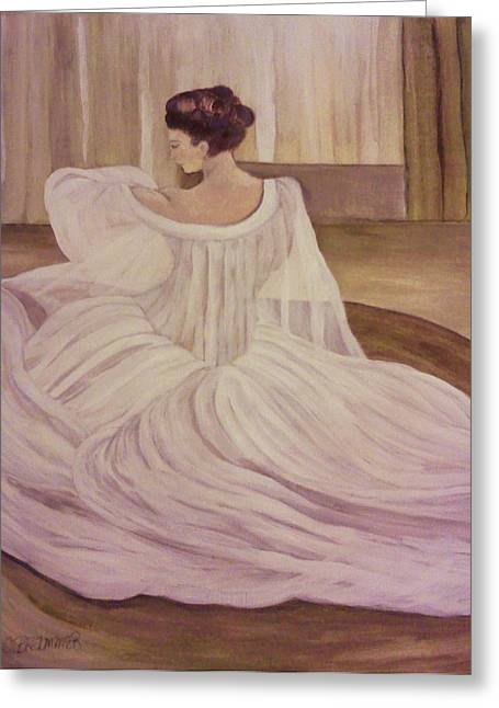 The Lady In White Greeting Card by Christy Saunders Church