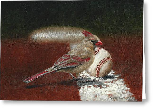 The Lady Loves Her Baseball Greeting Card by Rob Dreyer