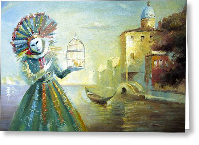 Greeting Card featuring the painting The Lady With The Cage by Dmitry Spiros