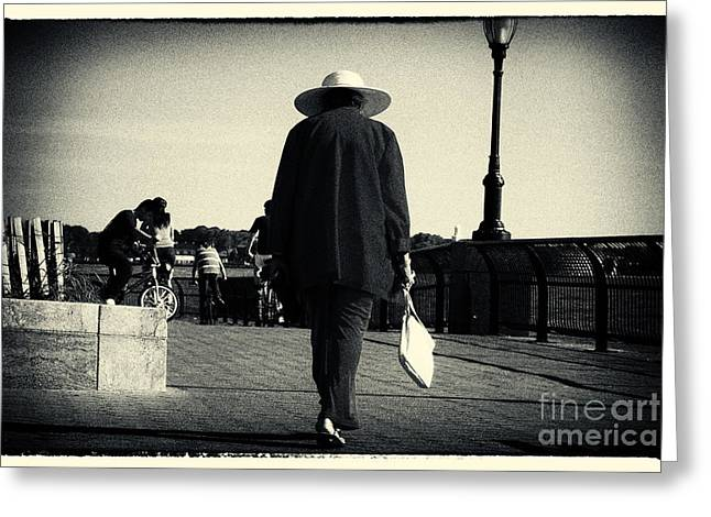 The Lady With The Hat New York City Greeting Card by Sabine Jacobs