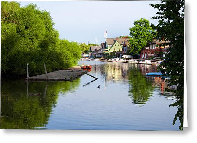 The Lagoon - Boathouse Row Greeting Card by Bill Cannon
