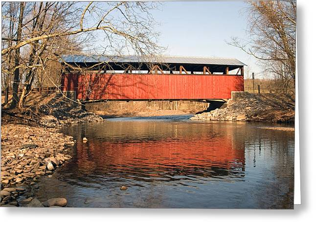 The Lairdsville Covered Bridge After The Flood Greeting Card by Gene Walls
