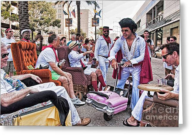 The Laissez Boys At Running Of The Bulls In New Orleans Greeting Card