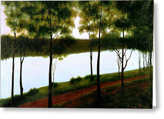 Greeting Card featuring the painting The Lake After Sunset  by Laila Awad Jamaleldin