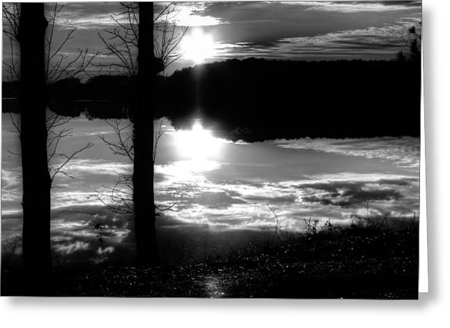 The Lake - Black And White Greeting Card