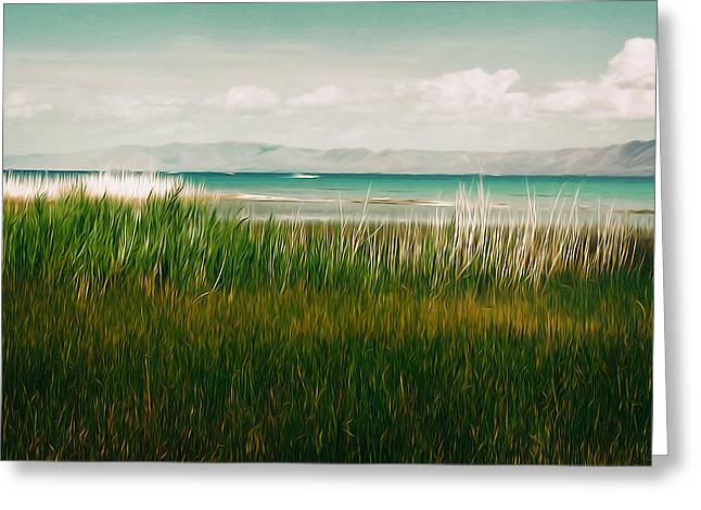 The Lake - Digital Oil Greeting Card by Mary Machare