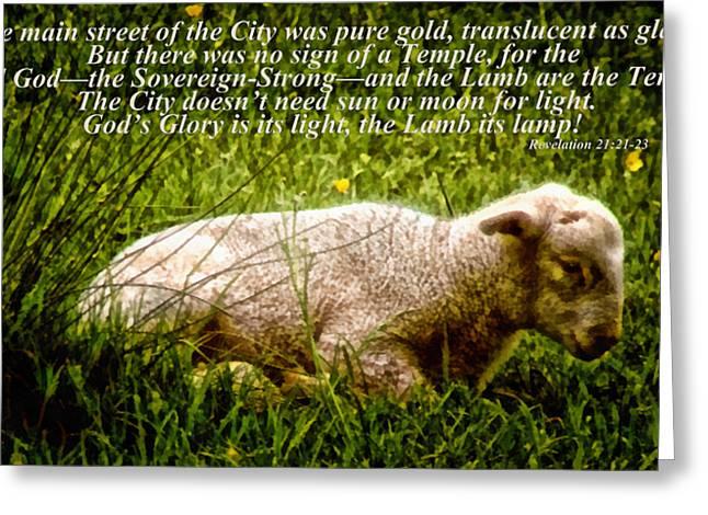 The Lamb Revelation 21 Greeting Card by Angelina Vick