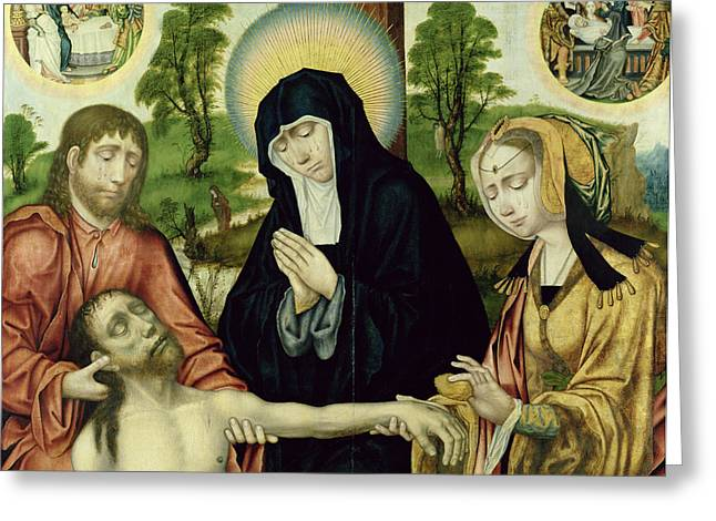 The Lamentation Of The Dead Christ, C.1520 Oil On Panel See 150818 And 150820 Greeting Card by Hamburg Master