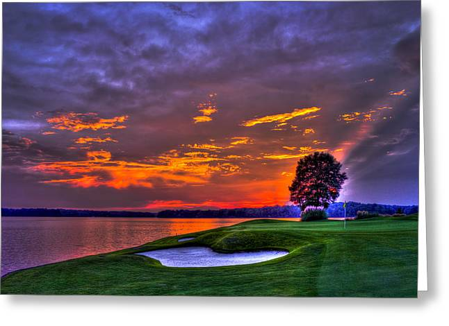 The Landing Golf Sunset On Lake Oconee  Greeting Card by Reid Callaway
