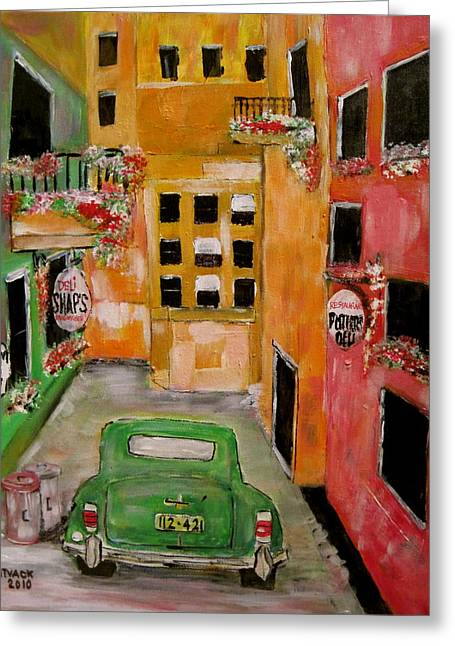 The Laneway Mixed Signals Greeting Card by Michael Litvack