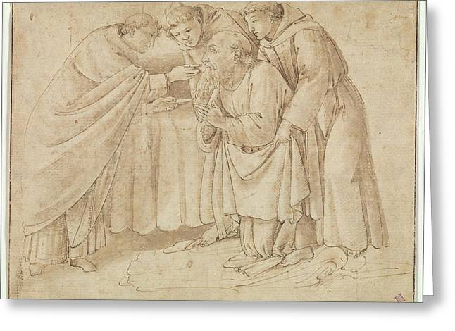 The Last Communion Of Saint Jerome Greeting Card by Workshop of Botticelli
