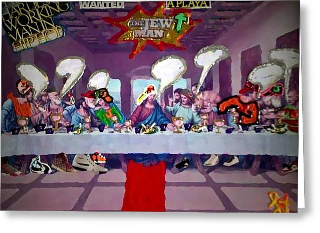 Greeting Card featuring the painting The Last Last Supper by Lisa Piper