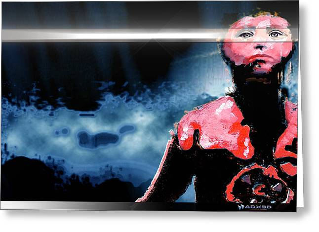 Greeting Card featuring the digital art The Last 'man' On Earth Stands... by A Dx