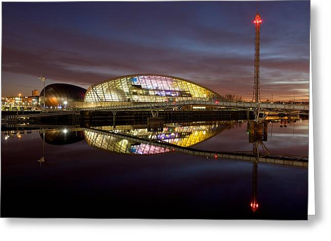 The Last Of The Light At The Glasgow Science Centre Greeting Card
