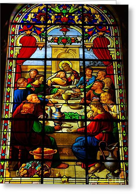 Greeting Card featuring the photograph The Last Supper In Stained Glass by John S