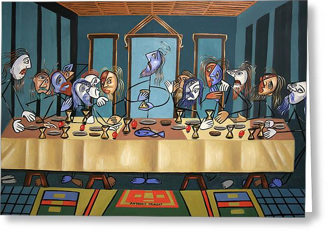 Greeting Card featuring the painting The Last Supper by Anthony Falbo