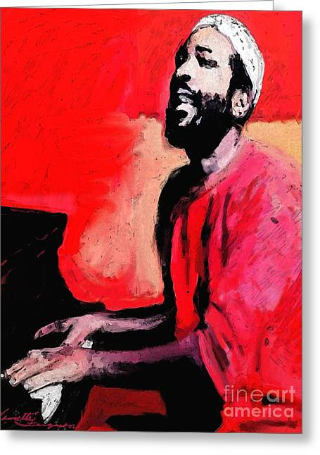 The Late Great Marvin Gaye Greeting Card by Vannetta Ferguson