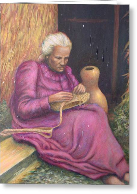 The Lauhala Weaver Greeting Card by Jamen Chai