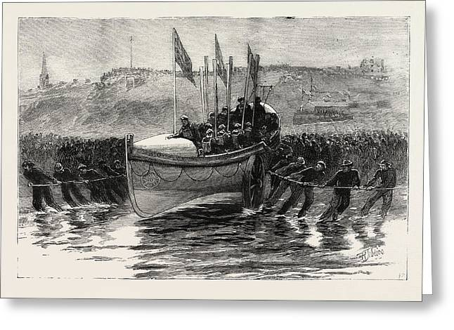 The Launch Of A New Lifeboat At Cullercoats Greeting Card by English School