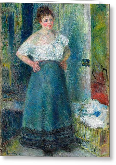 The Laundress Greeting Card by Pierre-Auguste Renoir