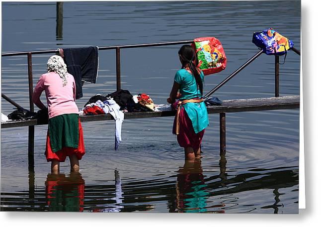 The Laundry - Nepal Greeting Card by Aidan Moran