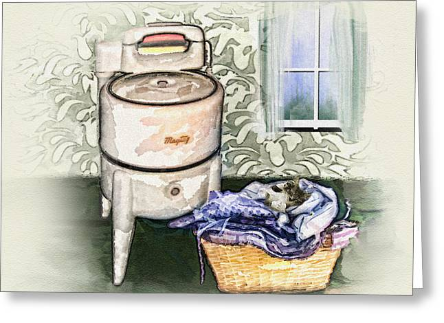 Greeting Card featuring the digital art The Laundry Room by Mary Almond