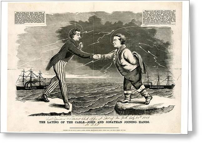 The Laying Of The Cable John And Jonathan Joining Hands Greeting Card by Irish School